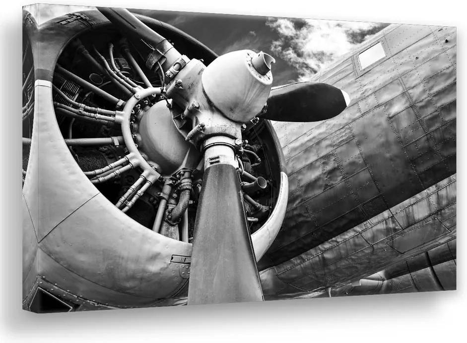 Pictura pe panza metalica - Silver plane 113x85 cm