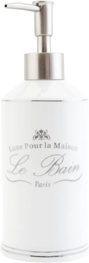 Dispenser ceramica alba pentru sapun Le Bain Ø 7x20 cm 0,4 L