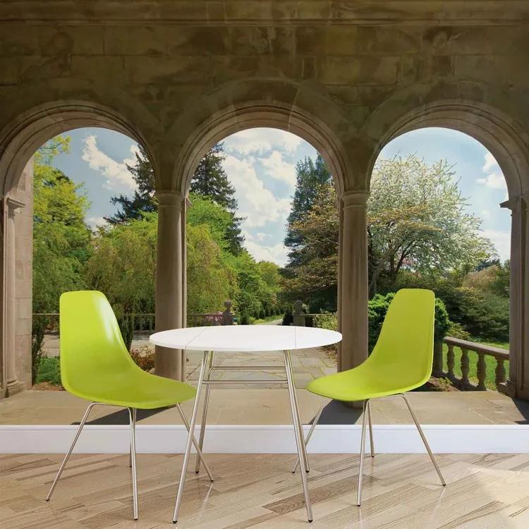 Garden Through Arches Fototapet, (104 x 70.5 cm)