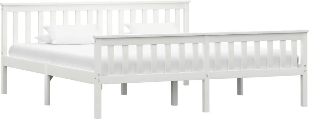 Cadru de pat din lemn masiv de pin, alb, 180 x 200 cm