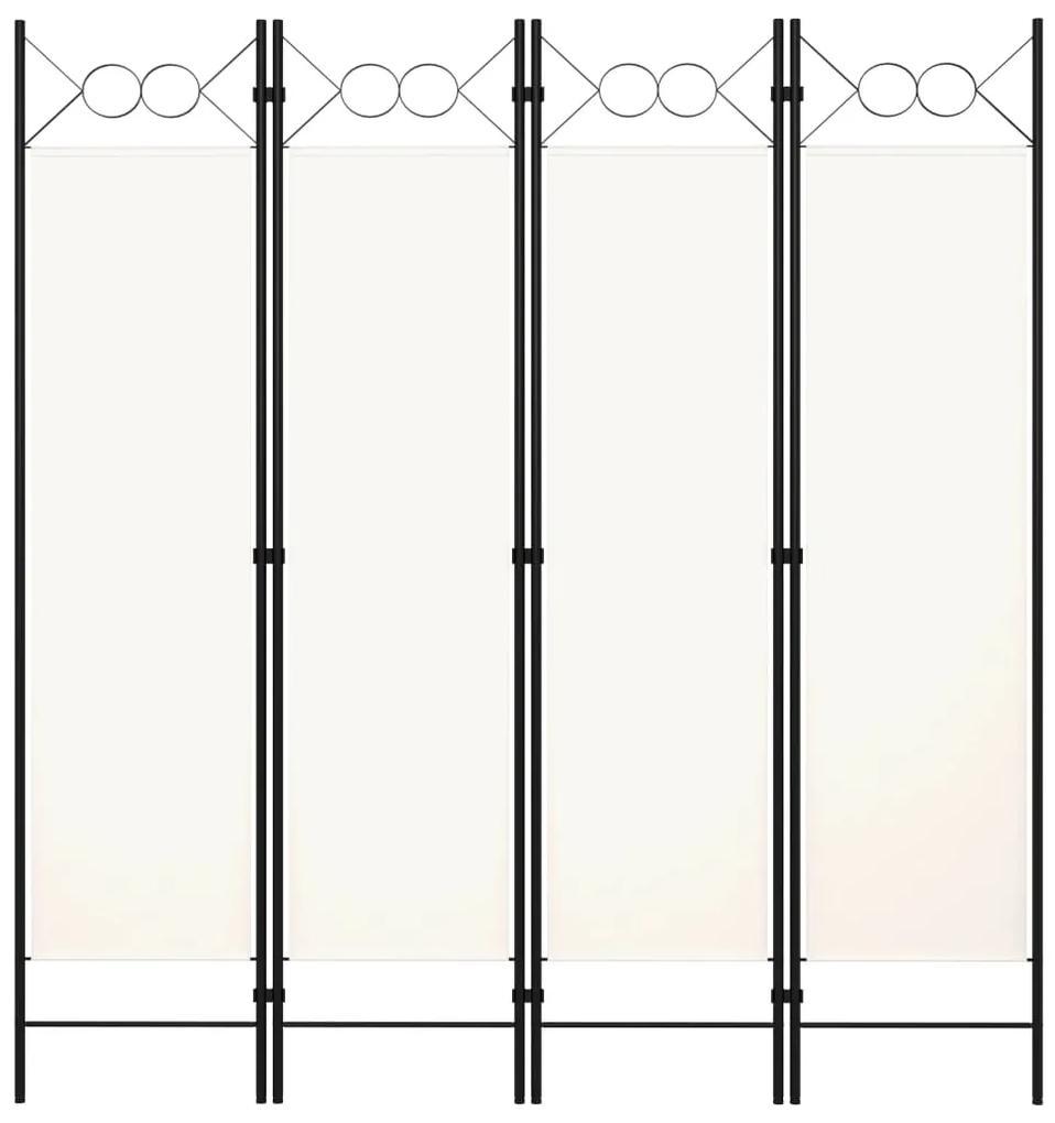320706 vidaXL Paravan de cameră cu 4 panouri, alb, 160x180cm