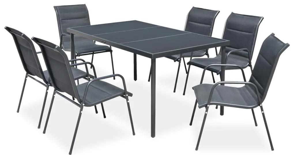 43309 vidaXL Set mobilier de exterior, 7 piese, negru, oțel