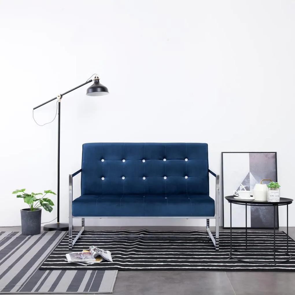 282166 vidaXL Canapea cu 2 locuri cu brațe, albastru, crom și catifea