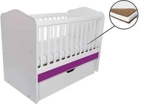 Patut Pentru Copii Como cu Balansoar - Alb cu Violet + Saltea Cocos 10cm