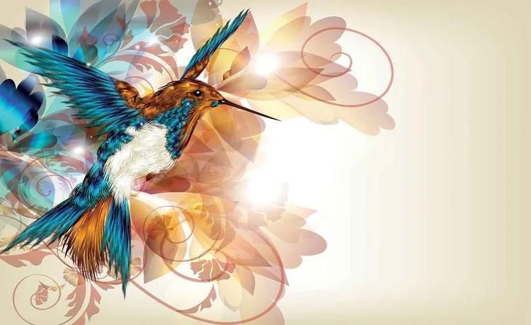 Birds Hummingbirds Flowers Abstract Fototapet, (416 x 254 cm)