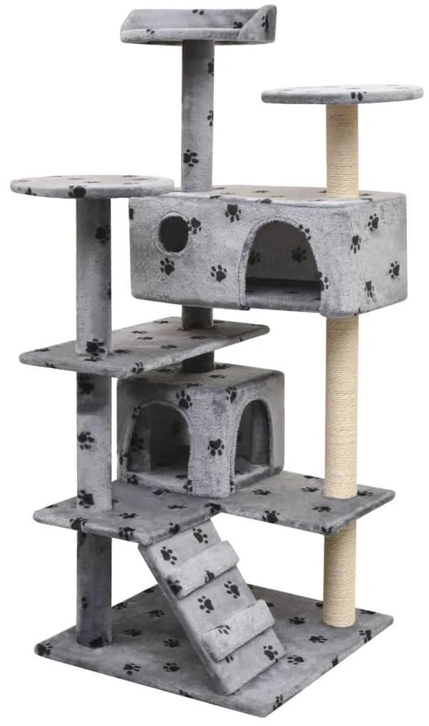 170476 vidaXL Ansamblu pisici cu funie de sisal, 125 cm, imprimeu lăbuțe, gri