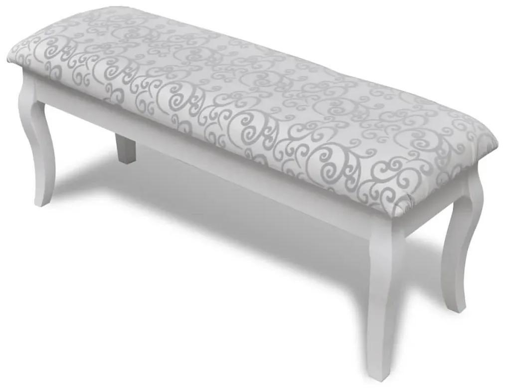 240564 vidaXL Bancă Hocker căptușita pentru masa de machiaj 2 locuri, alb 110 cm