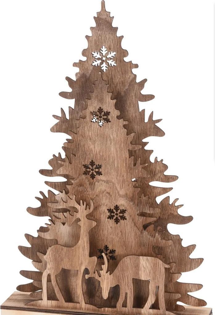 Decorațiune de Crăciun Christmas tree with Reindeers, din lemn, 38,5 cm