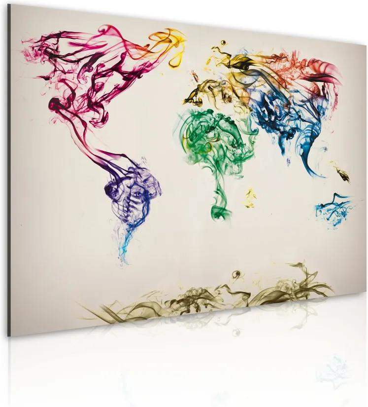 Tablou - Mapa světa - barevné kouře stezky 60x40 cm