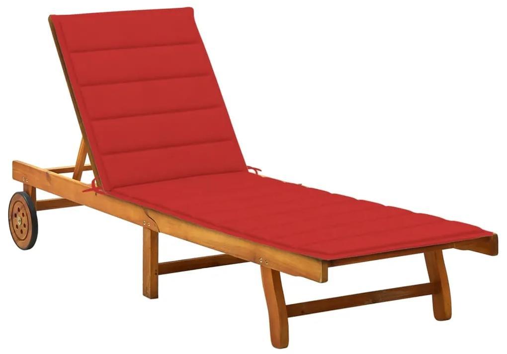 3061350 vidaXL Șezlong de grădină cu pernă, lemn masiv de acacia
