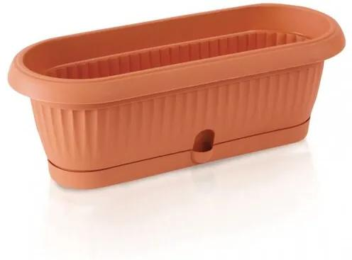 Ghiveci din plastic cu vas, Terra, cărămiziu, 31,6 cm, 31,6 cm