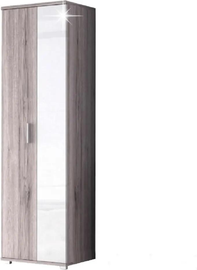 Dulap cu două uşi, stejar canyon/strălucire extra albă, RACHEL TYP 1