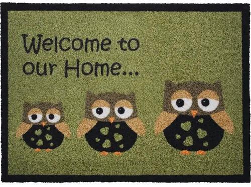 Covoras intrare Owl Creation model bufnite verde 50x70 cm