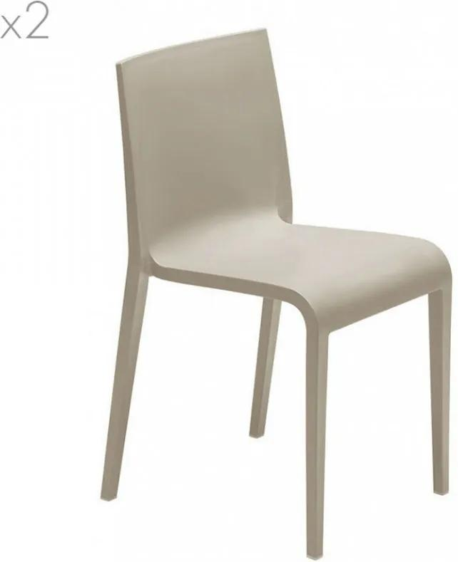 Set de 2 scaune Nassau, polipropilenă, taupe
