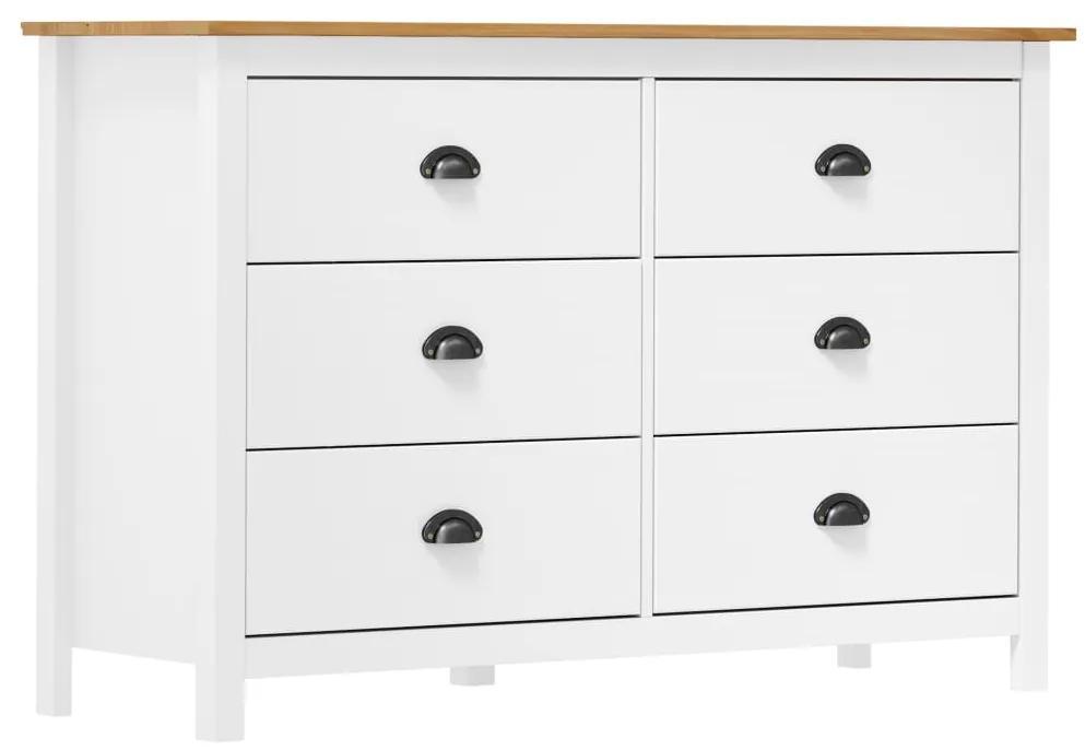 288986 vidaXL Servantă Hill Range, alb, 125 x 40 x 80 cm, lemn masiv de pin