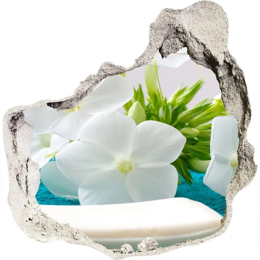 Autocolant gaură 3D Flori albe Spa