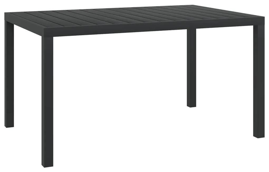 42791 vidaXL Masă de grădină, negru, 150 x 90 x 74 cm, aluminiu și WPC