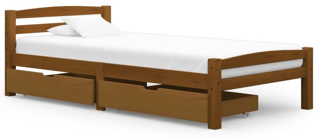 3060574 vidaXL Cadru de pat cu 2 sertare maro miere 100x200 cm lemn masiv pin