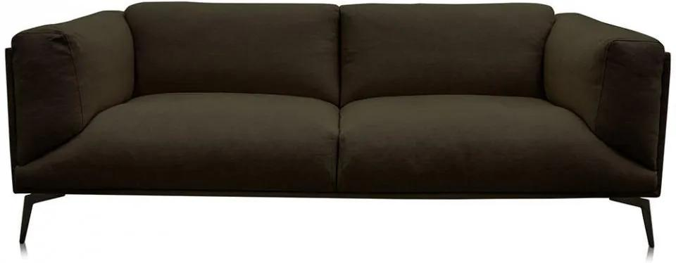 Canapea verde inchis din in si metal pentru 2,5 persoane Moore