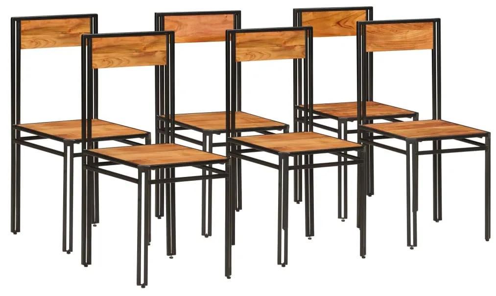 275846 vidaXL Scaune de bucătărie 6 buc. lemn masiv acacia finisaj sheesham