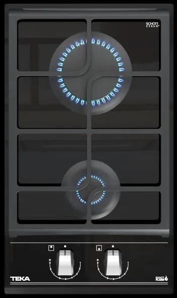Plita gaz incorporabila Teka GZC 32300 XBN 30cm, 2 arzatoare, gratare fonta, Cristal Black