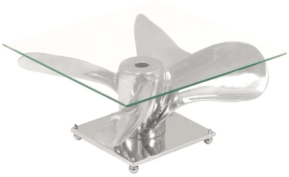 246503 vidaXL Masă cafea, argintiu, 60x60x30 cm, aluminiu + sticlă securizată