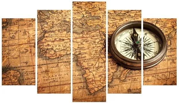 Tablou din mai multe piese pe pânză Map