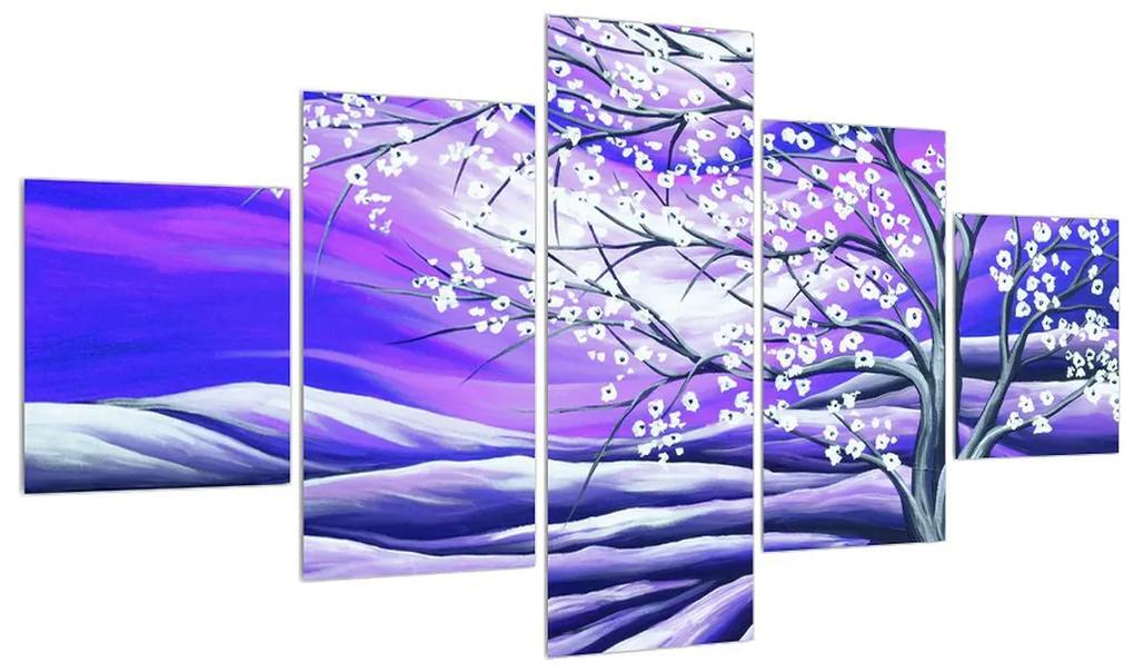 Tablou violet cu pom înflorit (K013866K12570)