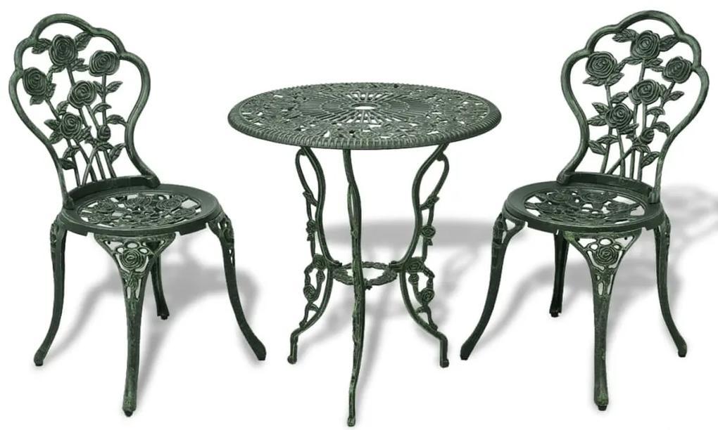 42164 vidaXL Set mobilier bistro, 3 piese, verde, aluminiu turnat