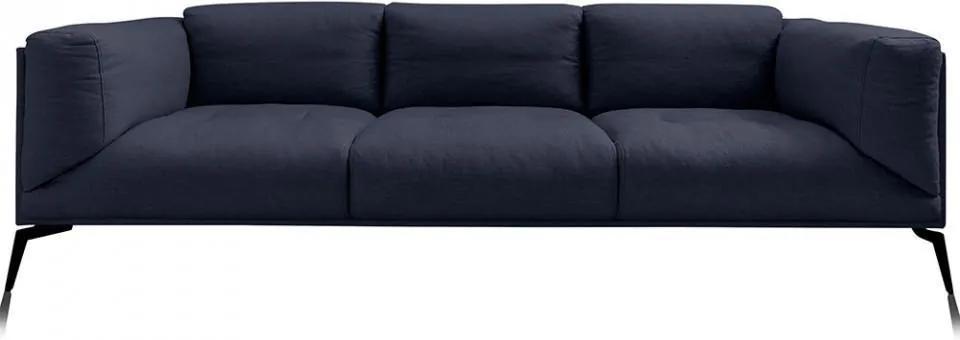 Canapea albastru nocturn din in si metal pentru 3 persoane Moore
