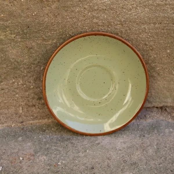Farfurie pentru ceasca Gardena din ceramica verde 14 cm