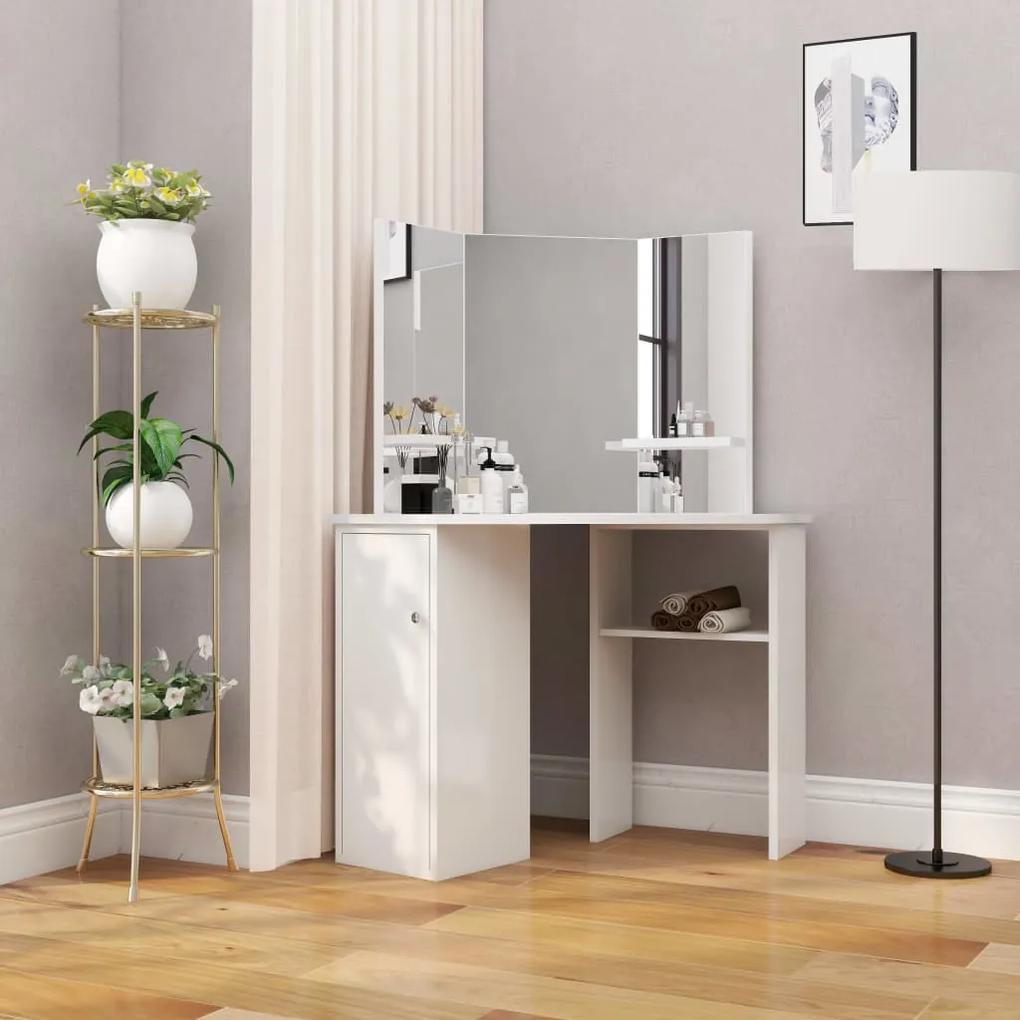 288451 vidaXL Masă de toaletă colțar, masă pentru machiaj și cosmetice, alb
