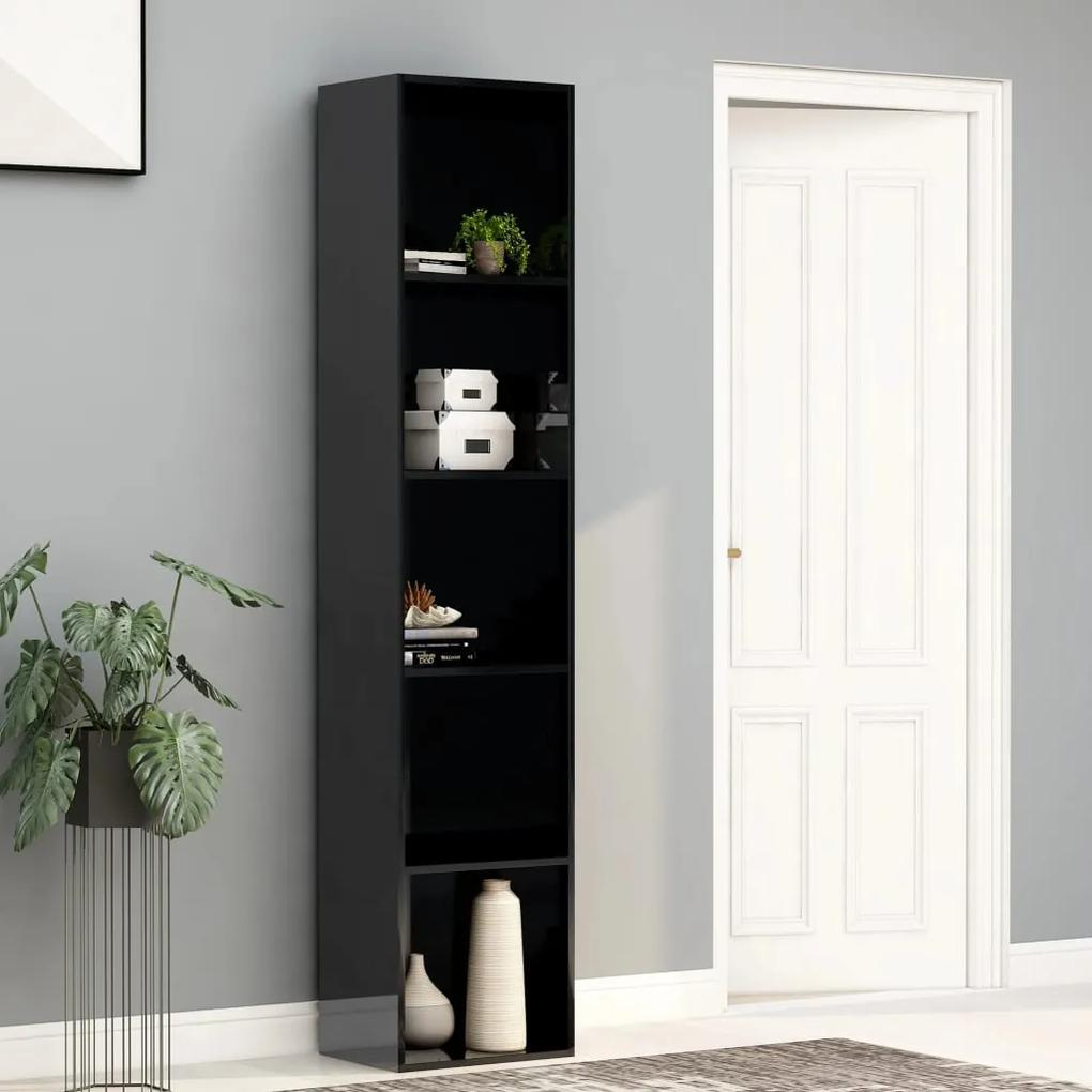 800961 vidaXL Bibliotecă, negru extralucios, 40 x 30 x 189 cm, PAL