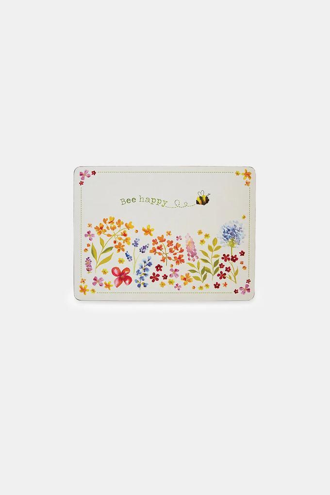 Set suporturi pentru farfurie Bee happy, din pluta multicolor