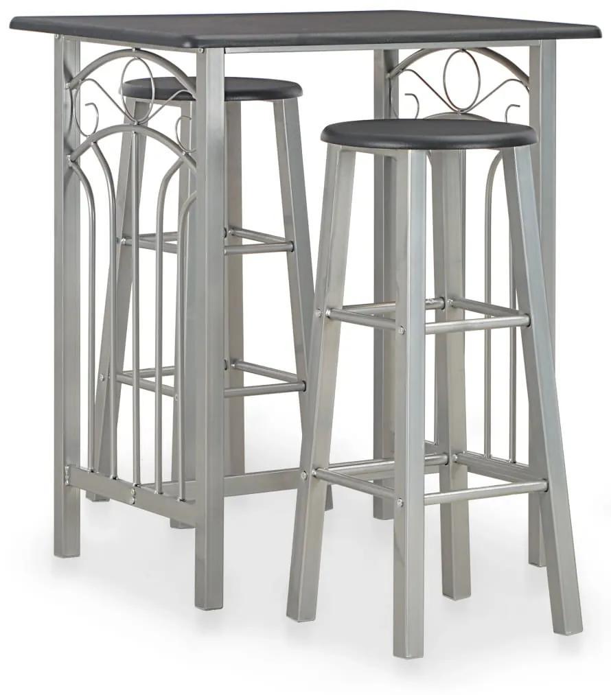 284396 vidaXL Set mobilier de bar, 3 piese, negru, lemn și oțel