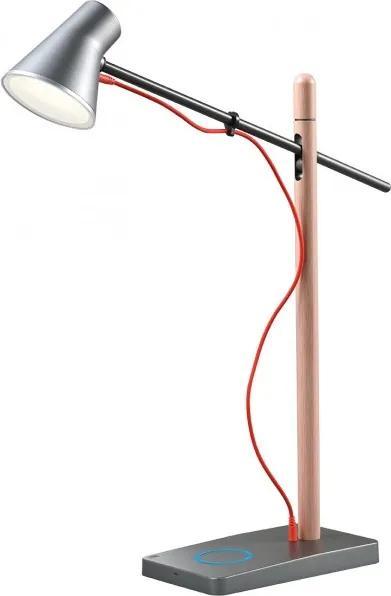 Veioză/Lampă de birou LED Redo FOX argintiu-lemn, USB + dimmer