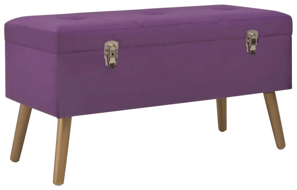 247567 vidaXL Bancă cu un compartiment de depozitare, violet, 80 cm, catifea