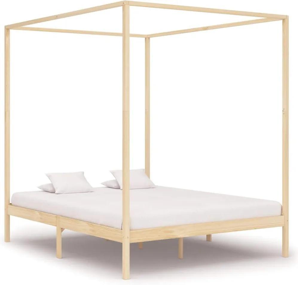 Cadru pat cu baldachin,180 x 200 cm, lemn masiv de pin