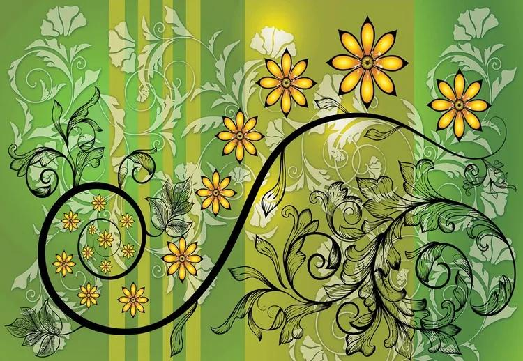 Modern Floral Design With Swirls Green And Yellow Fototapet, (152.5 x 104 cm)