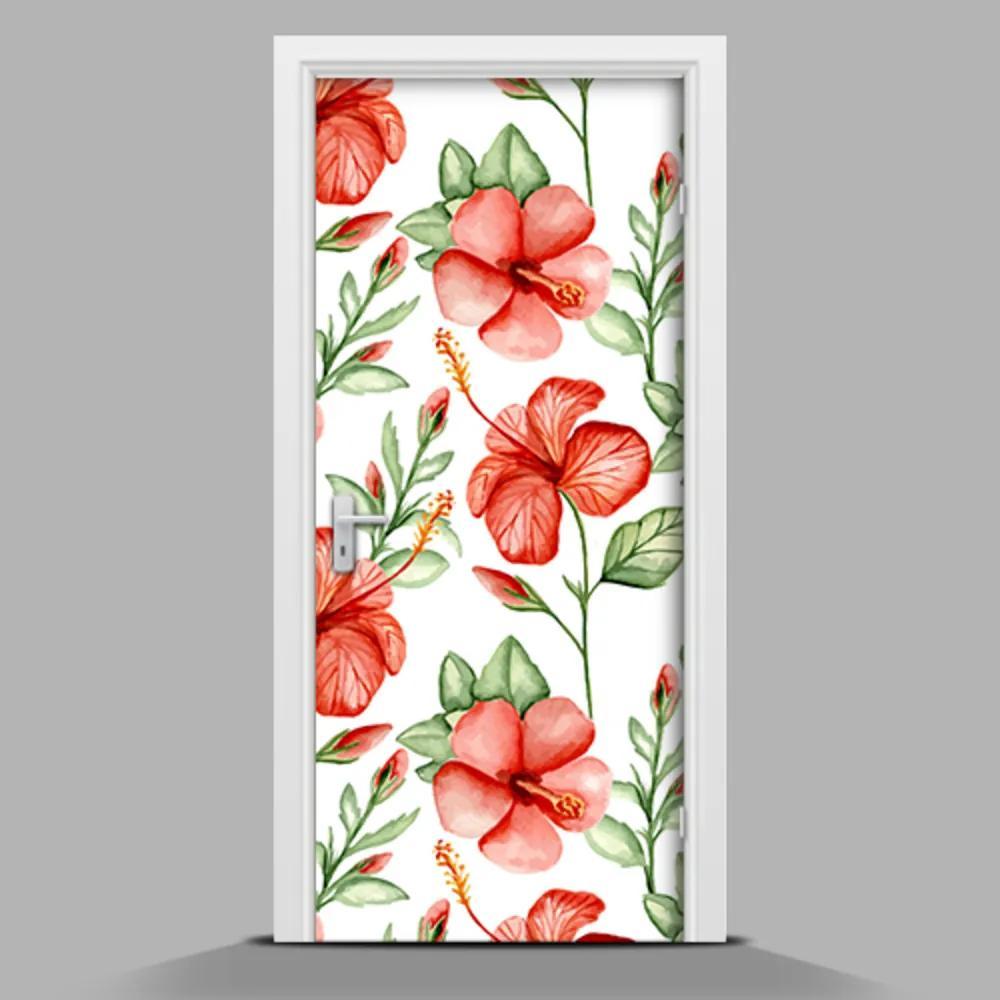 Autocolant de uși Flori roșii Hawaiian