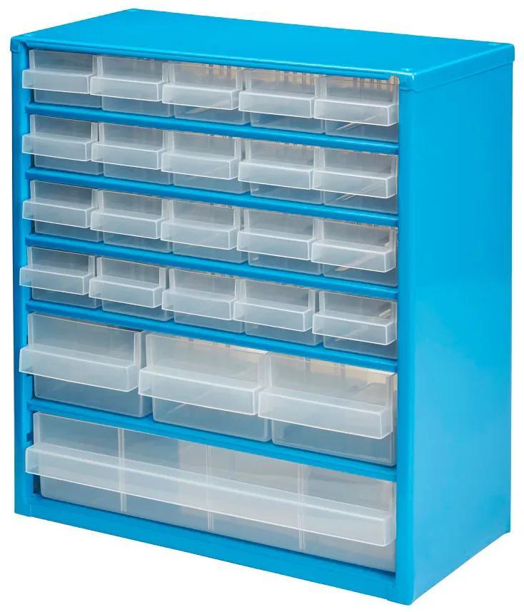 Organizator casetiera metalica cu 24 sertare, 30x15x33 cm, Albastru