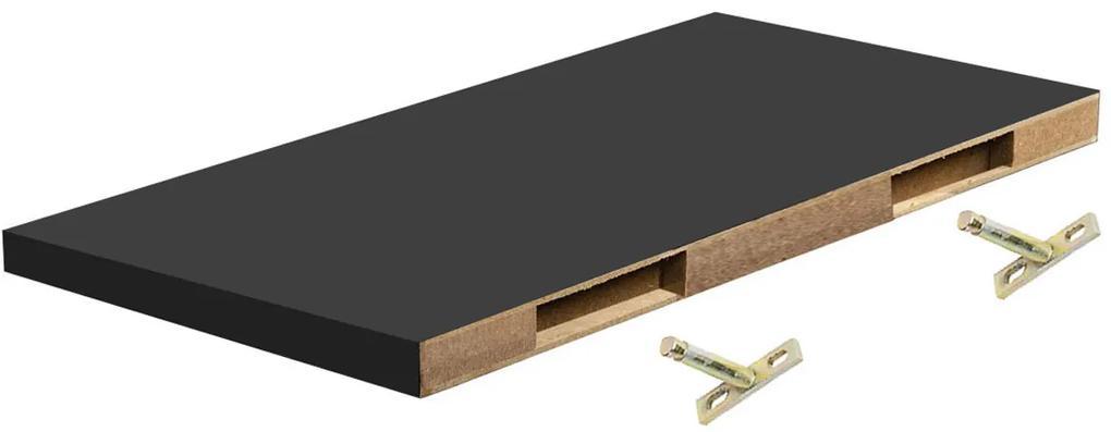 Polita perete cu suport fixare ascuns, 118x19x1.8 cm, Negru