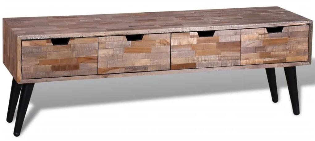241710 vidaXL Comodă TV cu 4 sertare, lemn de tec reciclat