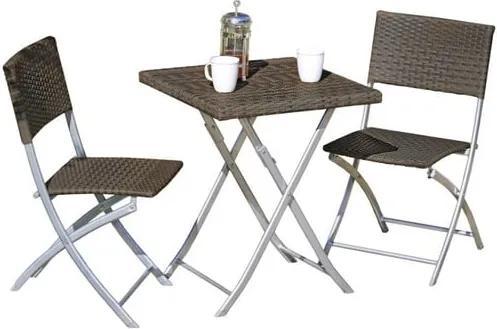 Set 2 scaune și măsuță de grădină ADDU Norfolk, maro închis