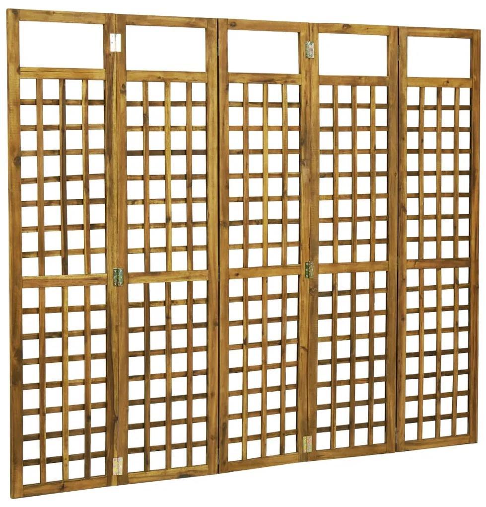 46563 vidaXL Separator cameră/spalier cu 5 panouri, lemn acacia, 200x170 cm