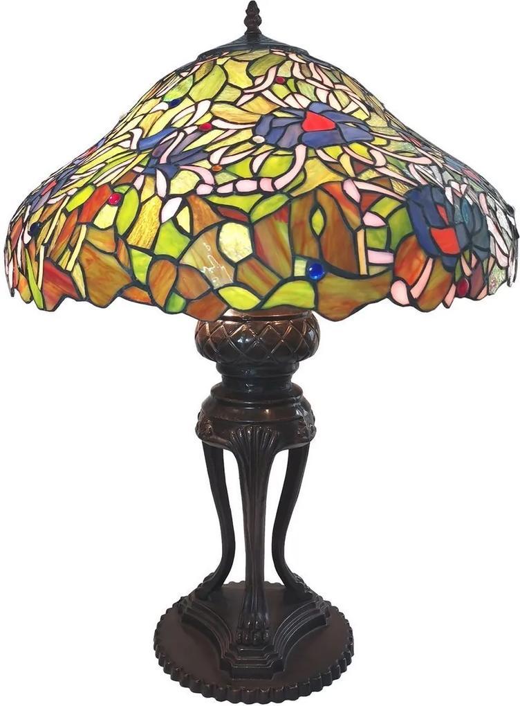 Veioza cu baza din polirasina maro si abajur din sticla Tiffany Ø 57 x 83 h