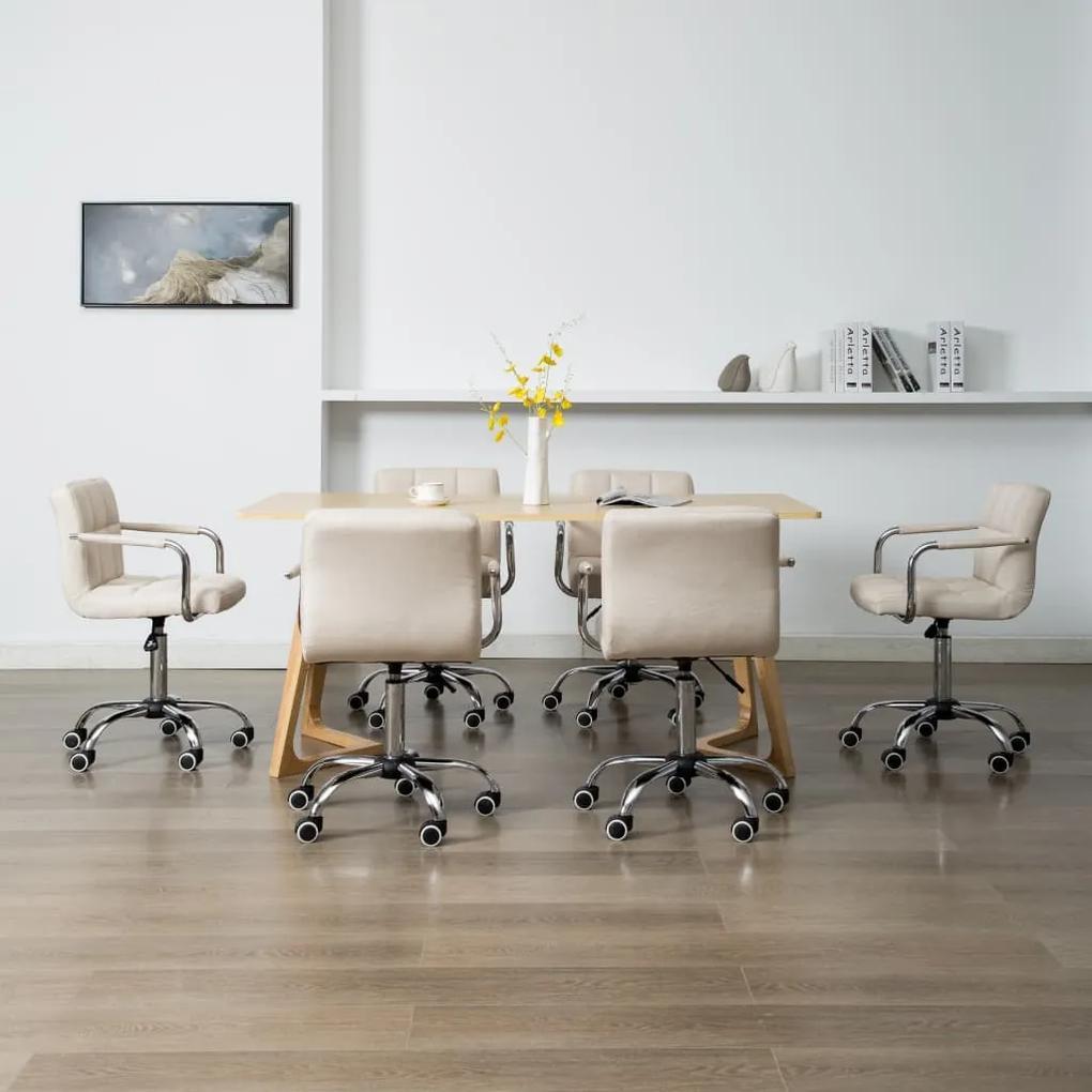 278545 vidaXL Scaune de sufragerie pivotante, 6 buc., crem, material textil