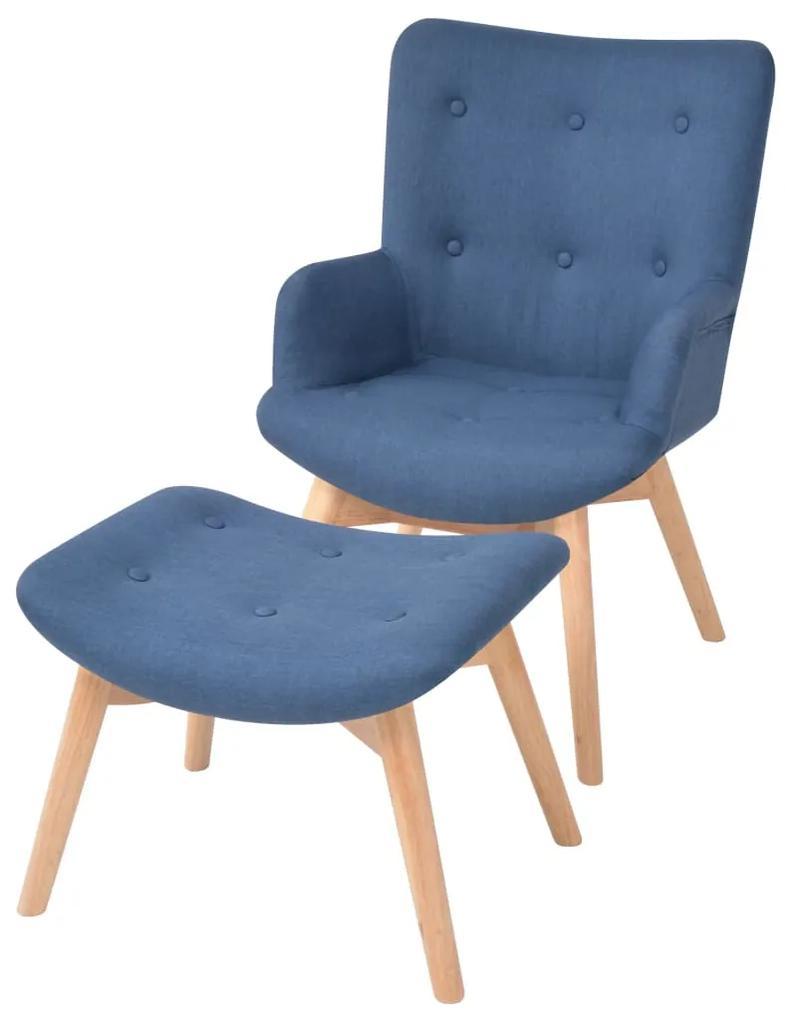 244663 vidaXL Fotoliu cu taburet, albastru, material textil