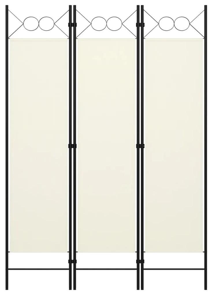 320699 vidaXL Paravan de cameră cu 3 panouri, alb crem, 120 x 180 cm