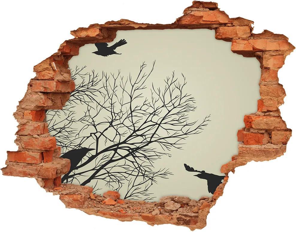 Autocolant 3D gaura cu priveliște Ciorile de pe copac